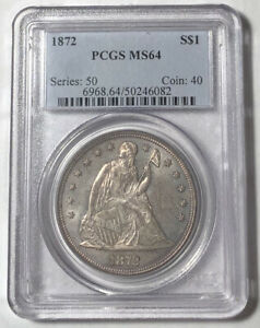 SILVER DOLLARS LIBERTY SEATED 1872 P PCGS MS 64
