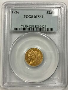 1926  $2.5 INDIAN GOLD PCGS MS62