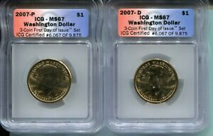 2007 D/P GEORGE WASHINGTON PRESIDENTIAL DOLLAR MS67    ICG