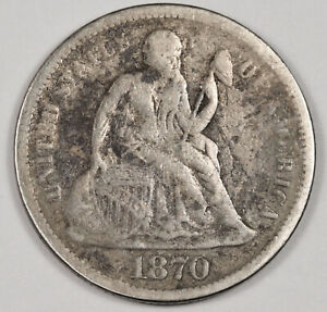 1870 S LIBERTY SEATED DIME.  ORIGINAL UNCLEANED VF DETAIL.  155697