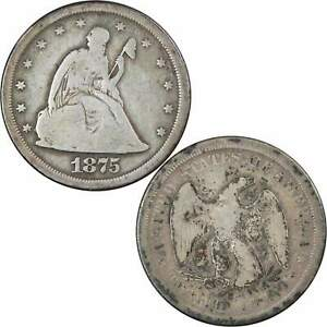1875 S SEATED LIBERTY TWENTY CENT PIECE AG ABOUT GOOD 90  SILVER 20C US COIN