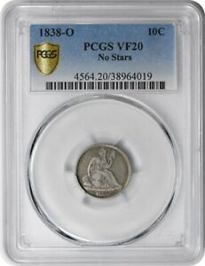 1838 O LIBERTY SEATED SILVER DIME NO STARS VF20 PCGS