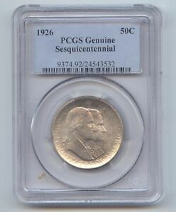 1926 SESQUICENTENNIAL COMMEMORATIVE HALF DOLLAR PCGS GENUINE