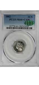 1882 3CN THREE CENT NICKEL PCGS AND CAC PR 66  CAM