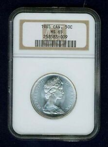 CANADA  ELIZABETH II  1965 50 CENTS COIN NGC CERTIFIED GEM UNCIRCULATED MS 65