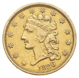 1836 $2.50 CLASSIC HEAD GOLD QUARTER EAGLE  0405