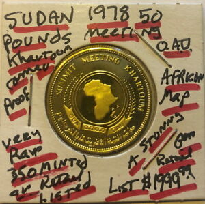 Click now to see the BUY IT NOW Price! SUDAN 1978 O.A.U. 50 GOLD POUNDS  PROOF ULTRA CAMEO   350 MINTED  AFRICA MAP