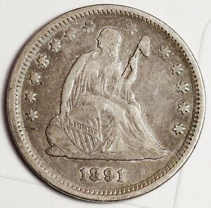 1891 LIBERTY SEATED QUARTER.  NATURAL UNCLEANED XF.  156608