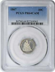 1867 LIBERTY SEATED SILVER DIME PRF64CAM PCGS