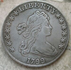 1799 DRAPED BUST SILVER DOLLAR.. STRONG DETAILS