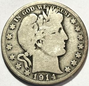 USA   BARBER HALF DOLLAR   1914 S    GOOD   BELOW WHOLESALE