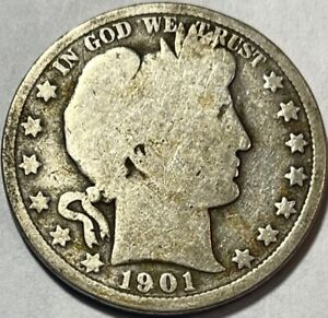 USA   BARBER HALF DOLLAR   1901   GOOD   BELOW WHOLESALE
