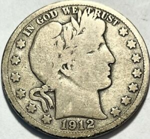 USA   BARBER HALF DOLLAR   1912 S   GOOD   BELOW WHOLESALE