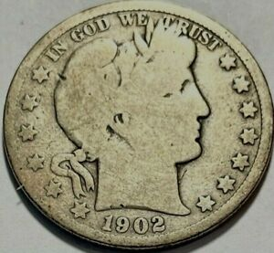 USA   BARBER HALF DOLLAR   1902 O   GOOD   BELOW WHOLESALE