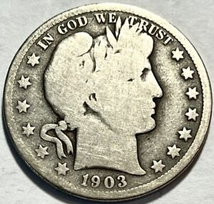 USA   BARBER HALF DOLLAR   1903 O   GOOD   BELOW WHOLESALE