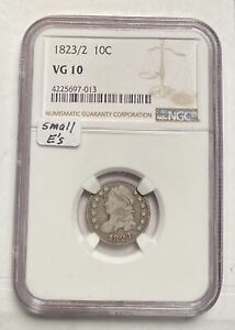 DIMES CAPPED BUST 1823 P NGC VG 10 /2