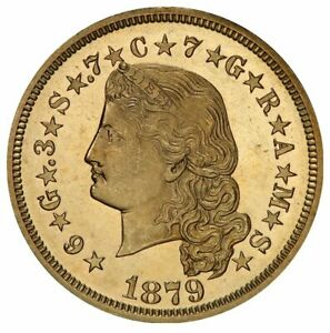 Click now to see the BUY IT NOW Price! 1879 $4 GOLD STELLA FLOW HAIR PCGS PR64CAM