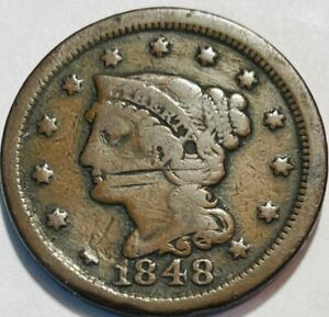 USA   BRAIDED HAIR LARGE CENT   1948   VG DETAILS   SCRATCHED