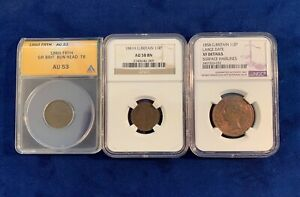 Click now to see the BUY IT NOW Price! GREAT BRITAIN / ENGLAND 1860 1881 COINS ANACS & NGC CERTIFIED GROUP LOT OF  3