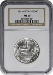 WISCONSIN COMMEMORATIVE SILVER HALF DOLLAR 1936 MS65 NGC