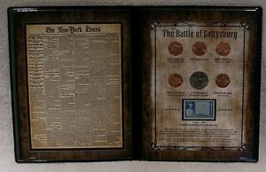 BATTLE OF GETTYSBURG COIN & STAMP COMMEMORATIVE 1863 NEW YORK TIMES BROADSHEET