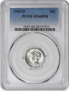 Click now to see the BUY IT NOW Price! 1943 D MERCURY SILVER DIME MS68FB PCGS