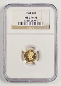 Click now to see the BUY IT NOW Price! GOLD DOLLARS INDIAN PRINCESS HEAD LARGE HEAD 1868 P NGC MS 67  PL