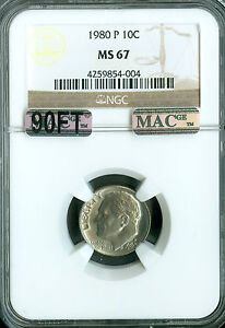 Click now to see the BUY IT NOW Price! 1980 P ROOSEVELT DIME NGC MAC MS67 90FT PQ FINEST SPOTLESS $5 000.00 IN FT