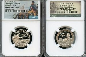 Click now to see the BUY IT NOW Price! 2021 S CLAD QUARTER SET CROSSING DELAWARE TUSKEGEE F.D.O.I. NGC PF70 UC PARK