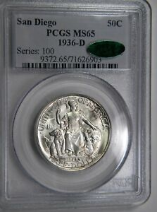 1936 D SAN DIEGO 50C PCGS MS 65 CAC SUPERB GEM IN OLD SERIES HOLDER PQ
