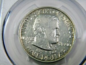 1922 GRANT WITH STAR 50C PCGS AU DET HAS LIGHT SCRATCH BEHIND GRANT'S HEAD