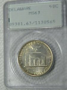 1936 DELAWARE 50C PCGS MS 63 IN 35YR OLD SMALL HOLDER GEM COIN IN 63 HOLDER