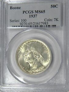 1937 BOONE 50C PCGS MS 65 CHOICE BRILLIANT COIN IN OLD SERIES HOLDER