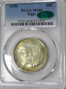 1936 ELGIN ILLINOIS PCGS MS 66 CAC SUPERB GEM WITH UNMISTAKABLE TAB TONED OBV.