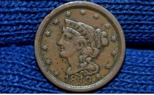 1849 HALF CENT   XF DETAILS  NICE BROWN  GET 5  OFF AT CHECKOUT