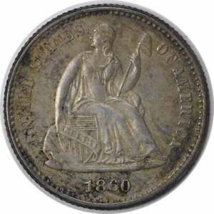 1860 LIBERTY SEATED SILVER HALF DIME BU UNCERTIFIED
