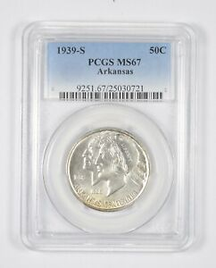 Click now to see the BUY IT NOW Price! MS67 1939 S ARKANSAS CENTENNIAL COMMEMORATIVE HALF DOLLAR   GRADED PCGS  8137