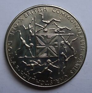 NEW ZEALAND DOLLAR $1 1974 COMMONWEALTH GAMES CROWN  T89