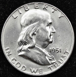 1951 D FRANKLIN HALF DOLLAR.  FULLY SEPARATED HORIZONTAL BELL LINE'S.  BU.   INV