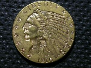$5 GOLD INDIAN   1916 S