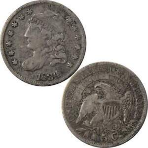 1834 CAPPED BUST HALF DIME VF FINE 89.24  SILVER 5C US TYPE COIN