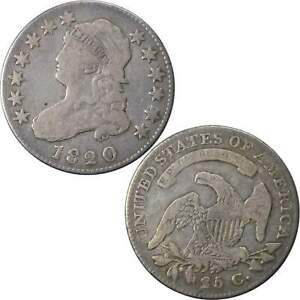 1820 CAPPED BUST QUARTER F FINE 89.24  SILVER 25C US TYPE COIN COLLECTIBLE