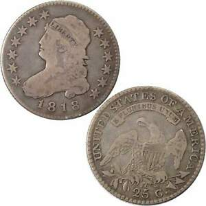 1818 8/5 CAPPED BUST QUARTER F FINE 89.24  SILVER 25C US TYPE COIN COLLECTIBLE