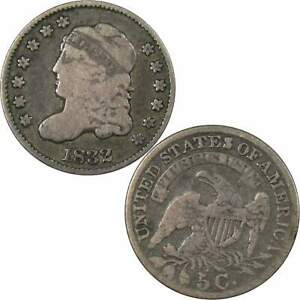 1832 CAPPED BUST HALF DIME VG GOOD 89.24  SILVER 5C US TYPE COIN