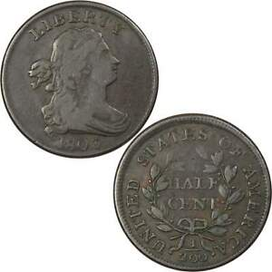 1803 DRAPED BUST HALF CENT VF FINE COPPER PENNY 1/2C US TYPE COIN