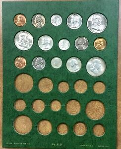 1954 P D AND S MINT SET BRILLIANT UNCIRCULATED ON OLD WHITMAN PAGE NICE TONING
