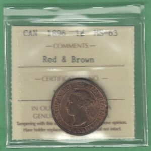 1896 CANADIAN LARGE ONE CENT   RED & BROWN   ICCS GRADED MS 63