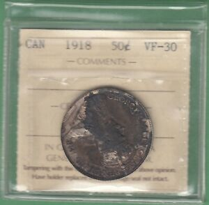 1918 CANADIAN 50 CENTS SILVER COIN   ICCS GRADED VF 30