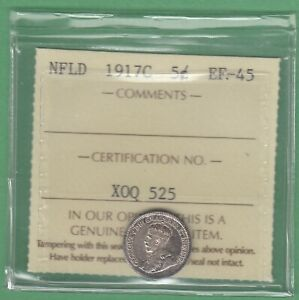 1917 NEWFOUNDLAND FIVE CENTS SILVER COIN   ICCS GRADED EF 45