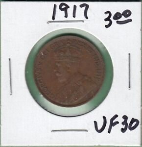 1917 CANADA LARGE ONE CENT COIN   VF 30